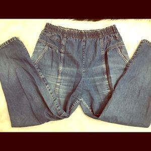 Ladies vintage elastic waist jeans